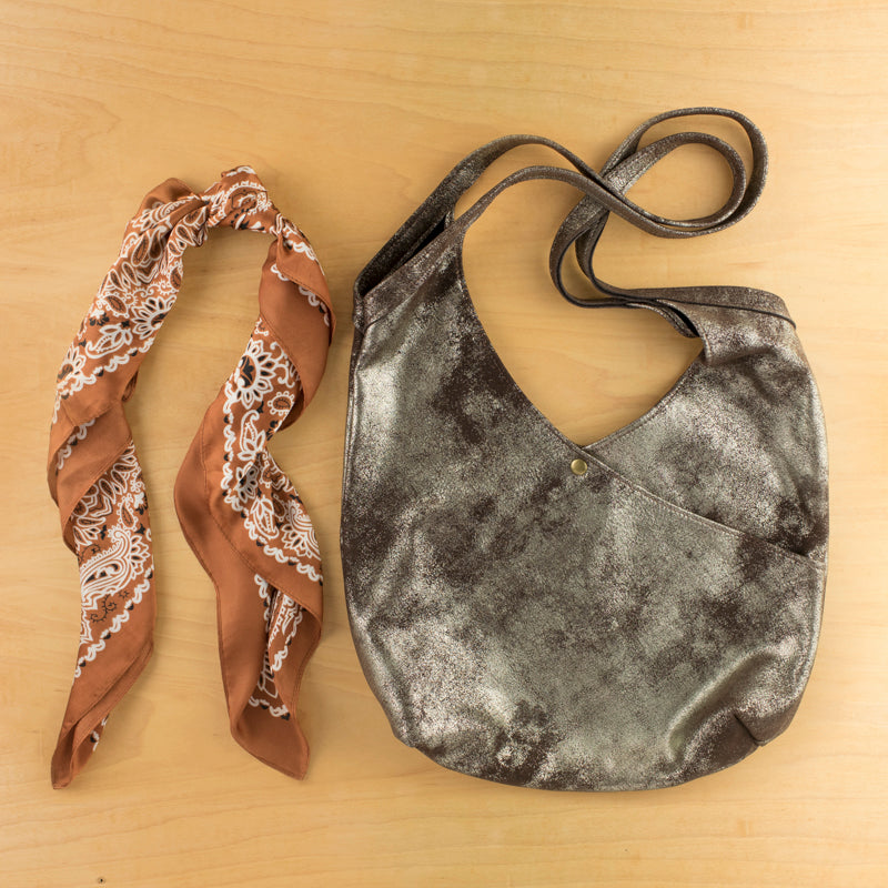 Super Soft Suede Bag in Metallic Pewter