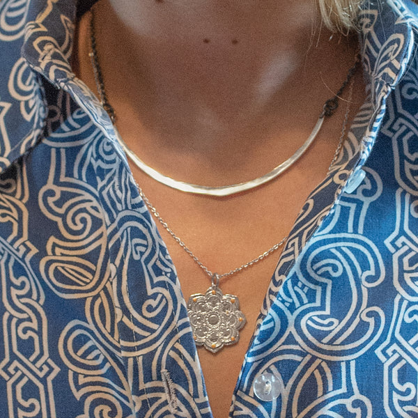 Silver Lotus Bloom Mandala Necklace