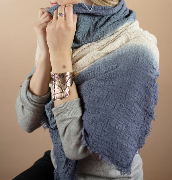 Organic Cotton Dip Dyed Wrap in Blue-Grey Fade