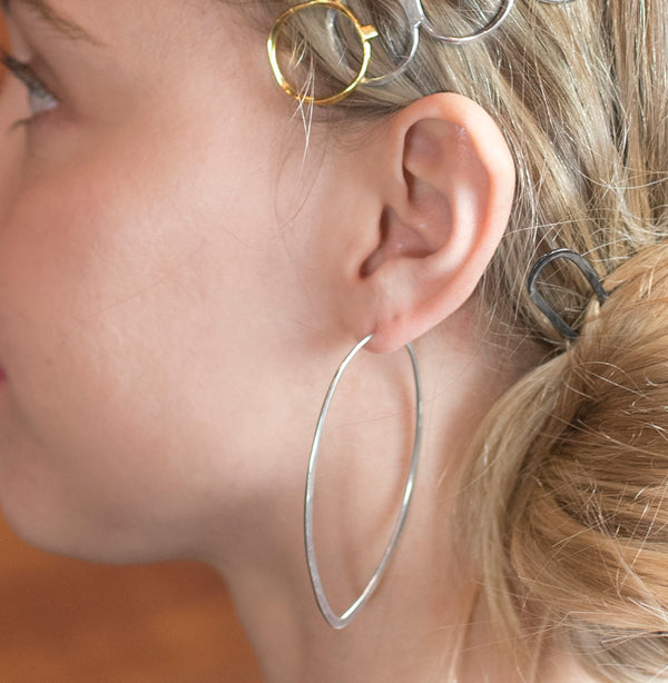 Tapered Point Hoops - Large in Gold