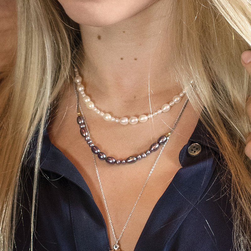 Peacock Pearl In-Line Necklace