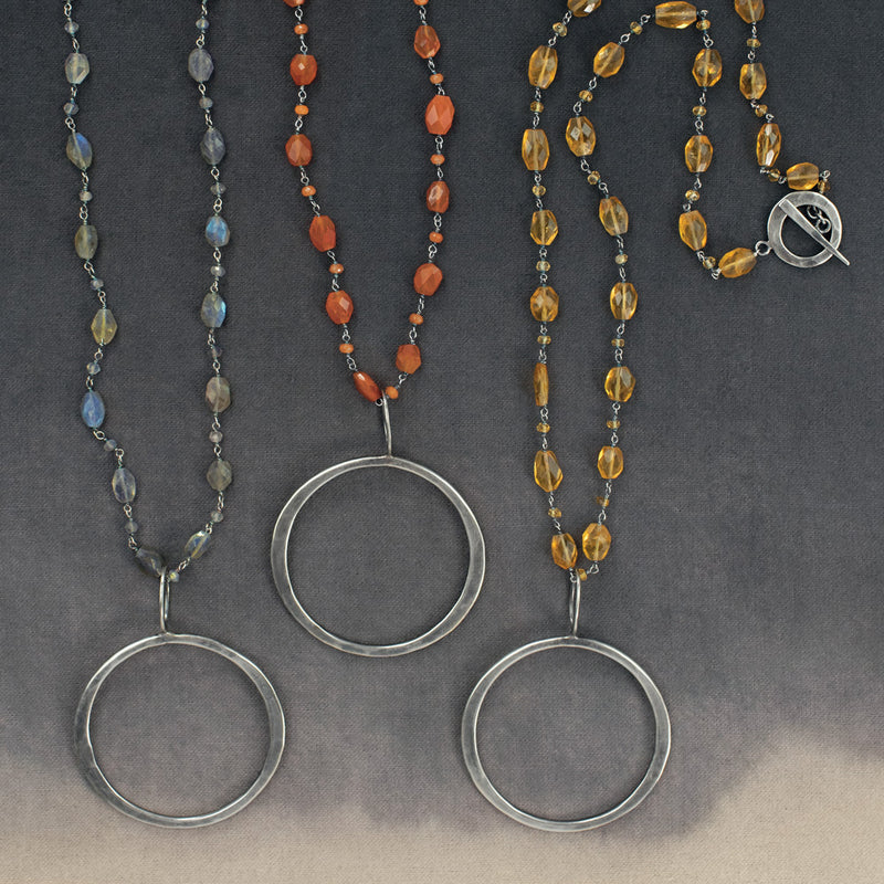 Laurel Sterling Circle and Stone Necklace in Carnelian
