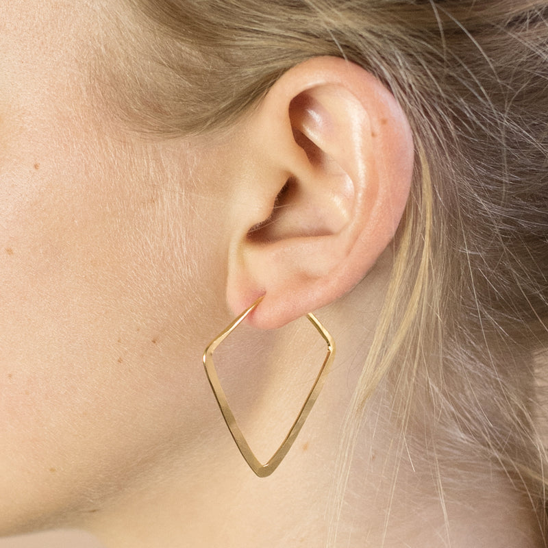 Hammered Diamond Hoops in Gold - 1 1/2""