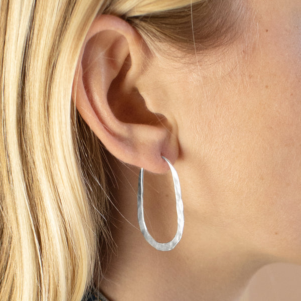 Hammered Oblong Hoops in Silver - 1 1/2""