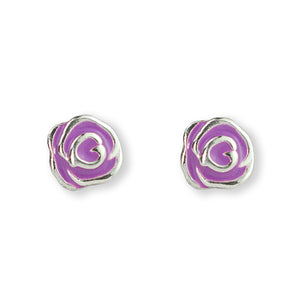 Purple Rose Post Earring