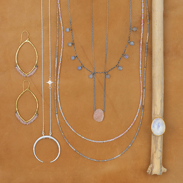 Many Moons Necklace in Rainbow Moonstone
