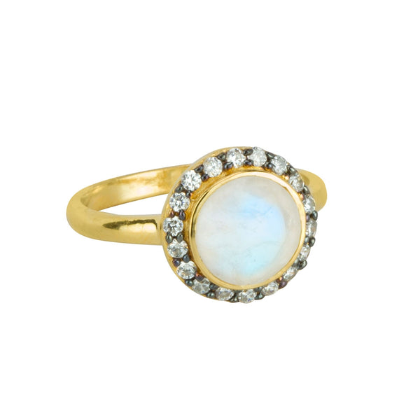 Jeweled Halo Ring in Moonstone