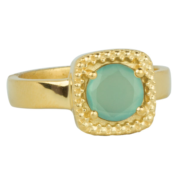 Let it Glow Ring in Gold and Aqua Chalcedony