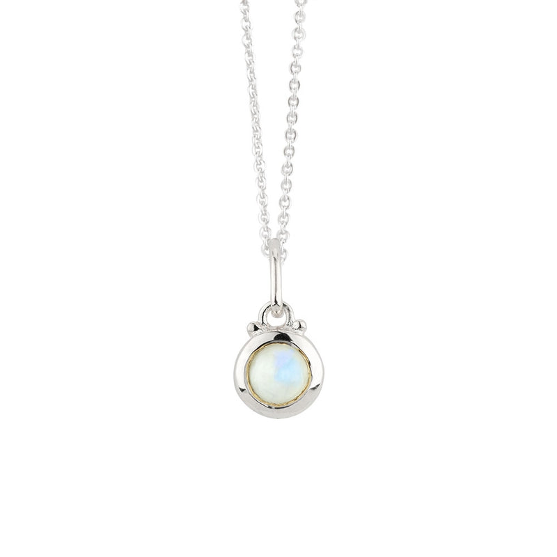 October Birthstone Charm Necklace in Silver