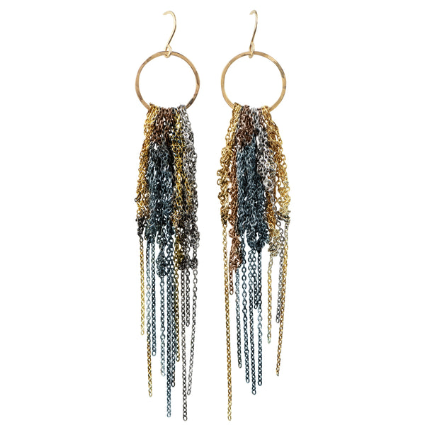 Muticolor Chain Fringe Duster Earrings