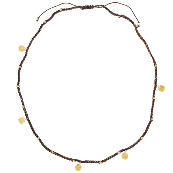 Macramé Mandala Necklace/Wrap in Brown & Gold