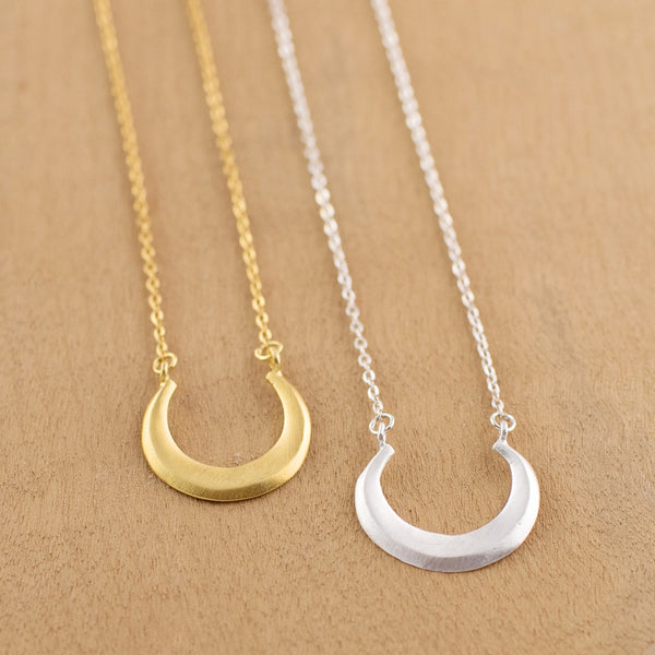 Smiling Moon Necklace in Silver