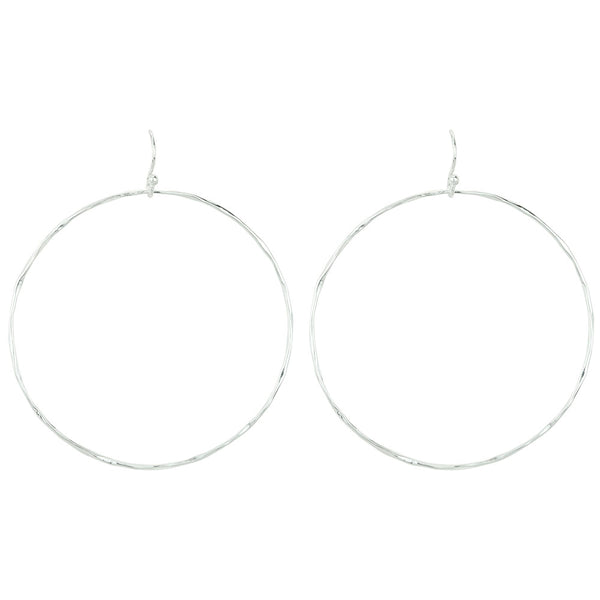 Open Circle Hoop Earrings in Silver