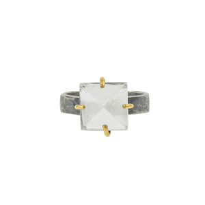 Pyramid Power Ring in Rock Quartz