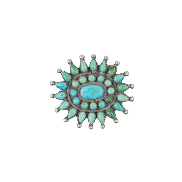 Vintage Turquoise Petit Point Brooch - #3