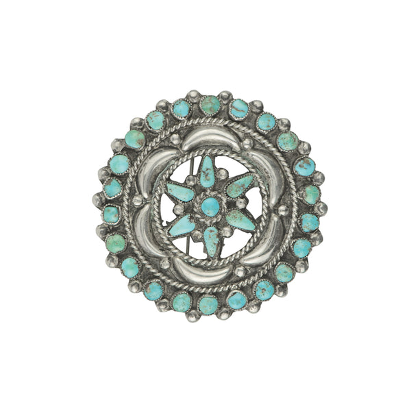 Vintage Turquoise Petit Point Brooch - #2