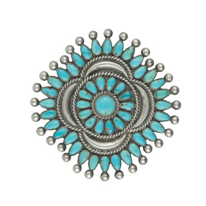 Vintage Turquoise Petit Point Brooch - #1