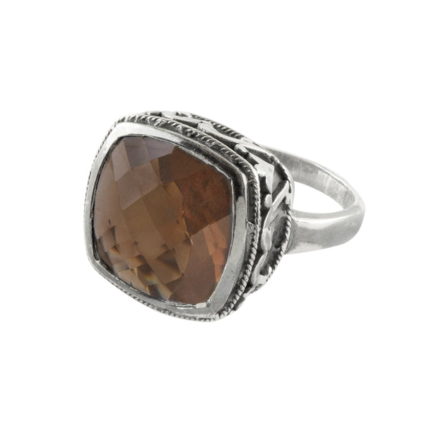 Cushion Cut Cocktail Ring in Smoky Quartz & Antiqued Sterling
