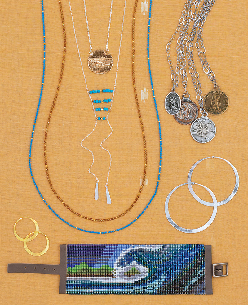 Ladder-Up Lariat Necklace in Turquoise & Gold
