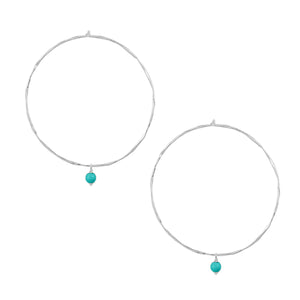 Turquoise Bead Hoop Earrings in Silver