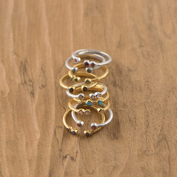 Soufflé Trio Stone Stacker Ring in Gold and Ruby | Available to Ship 6/11