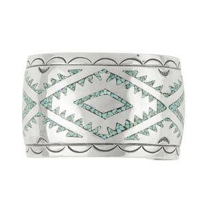 Vintage Chip Inlay Textile Pattern Cuff