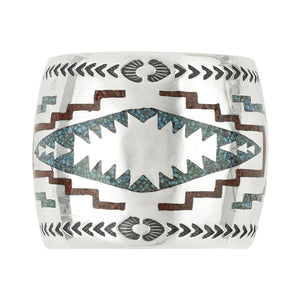 Vintage Chip Inlay Blanket Pattern Cuff