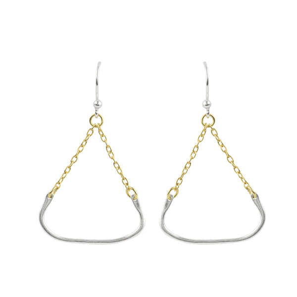 Two Tone Triangle Earrings