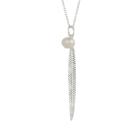 Plume Necklace In Silver And Pearl