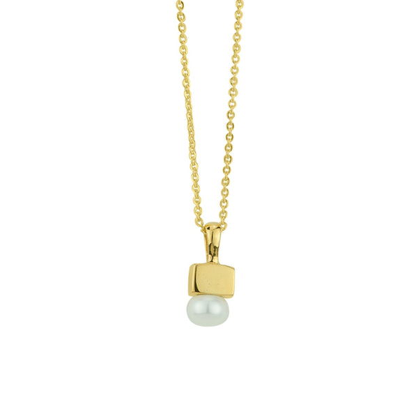 Cubist Pearl Necklace in Gold