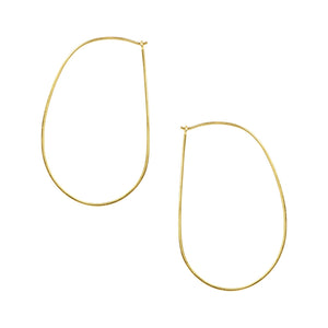 Oblong Sleeper Hoops in Gold