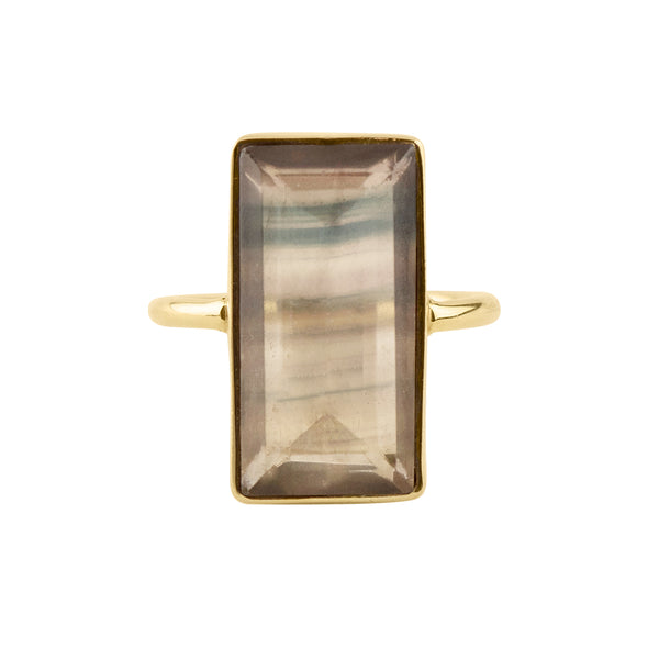 Fluorite Strata Ring in Gold
