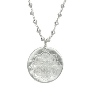 Sacred Lotus and Pyrite Necklace in Silver