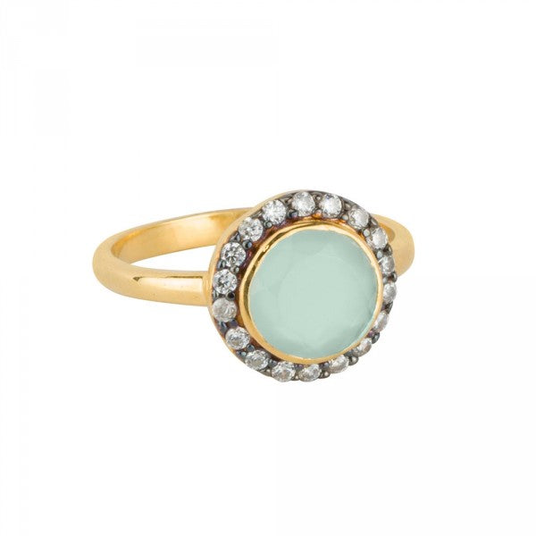 Jeweled Halo Ring in Aqua Chalcedony