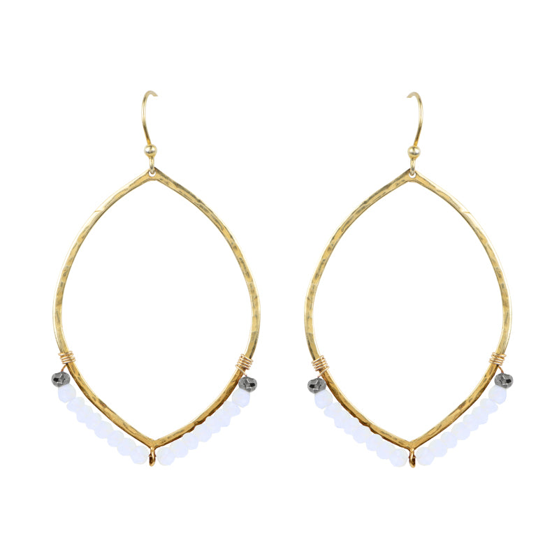 Hammered Ellipse Earrings in Moonstone & Gold