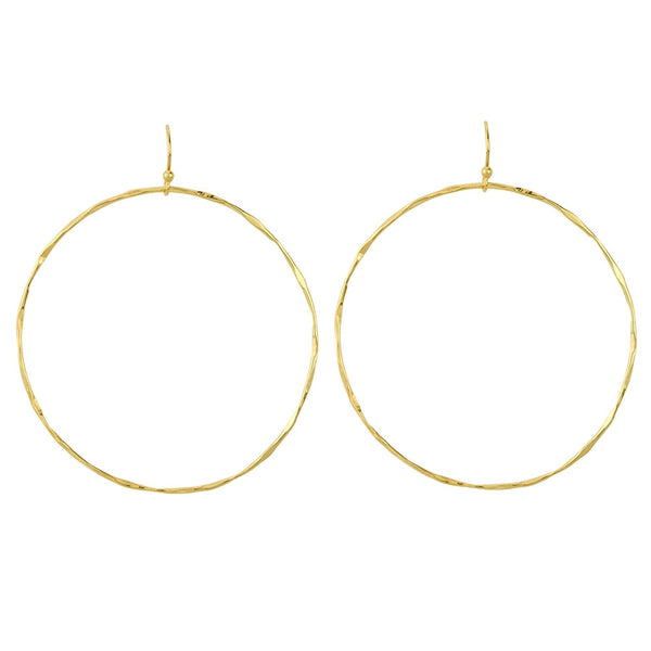 Open Circle Hoop Earrings in Gold