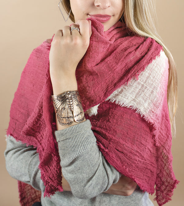 Organic Cotton Dip Dyed Wrap in Rosewood/ Natural