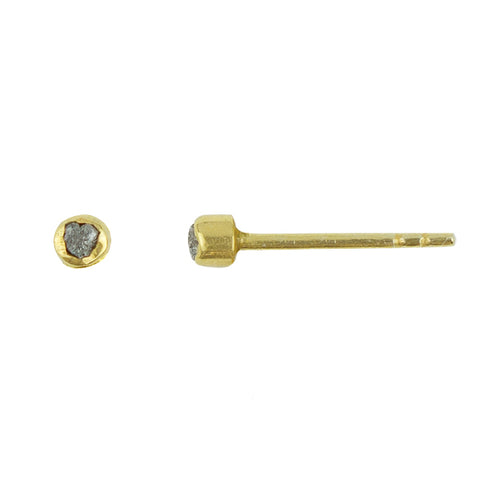 Raw Diamond Post Earrings in Gold