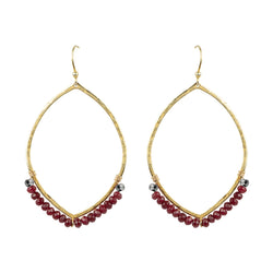 Hammered Ellipse Earrings in Ruby Quartz & Gold