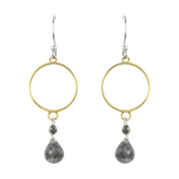 Rutilated Quartz Circle Drop Earrings