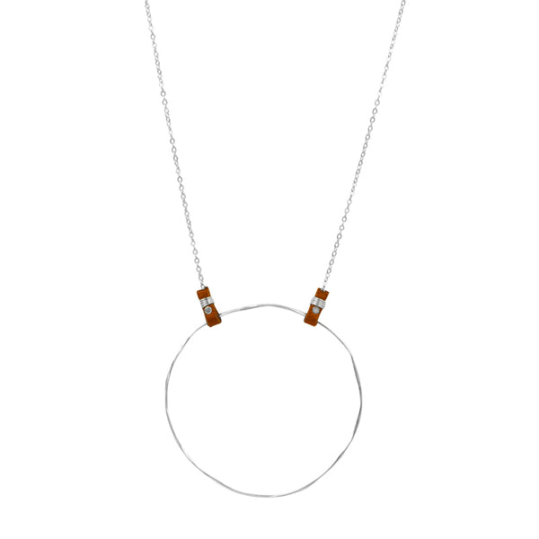 Tethered Leather Necklace in Silver