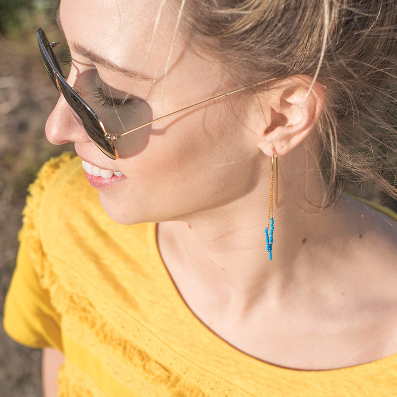 Tri-Stack Stone Earrings in Turquoise & Gold