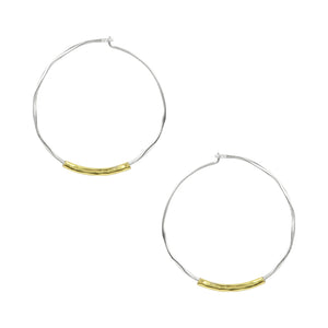 Two Tone Slider Hoop Earrings