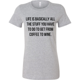 Life is basically all the stuff you have to do to get from coffee to wine. Tank/Tee - Pretty Little Sayings