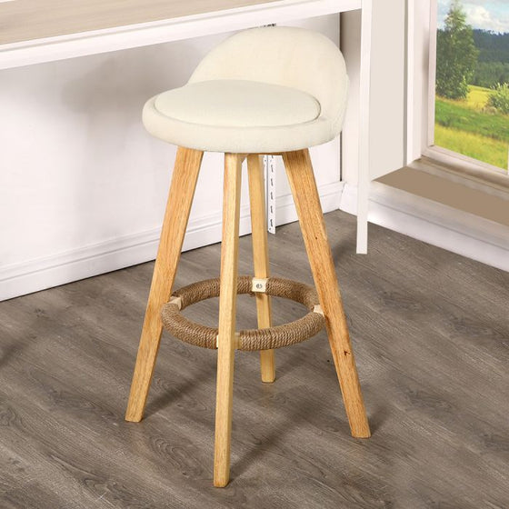 2x Fabric Swivel Bar Stool Kitchen Stool Dining Chair Barstools Cream