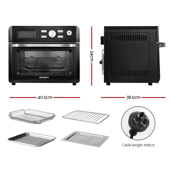 20L Air Fryer Convection Oven Oil Free Fryers Kitchen Cooker Accessories Black