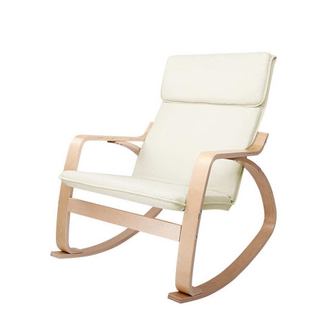 Bentwood Fabric Rocking Armchair Beige