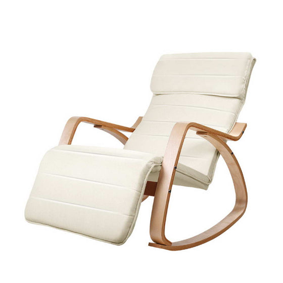 Fabric Rocking Armchair with Adjustable Footrest - Beige