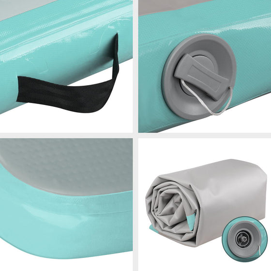 3m x 1m Air Track Mat Gymnastic Mint Green and Grey
