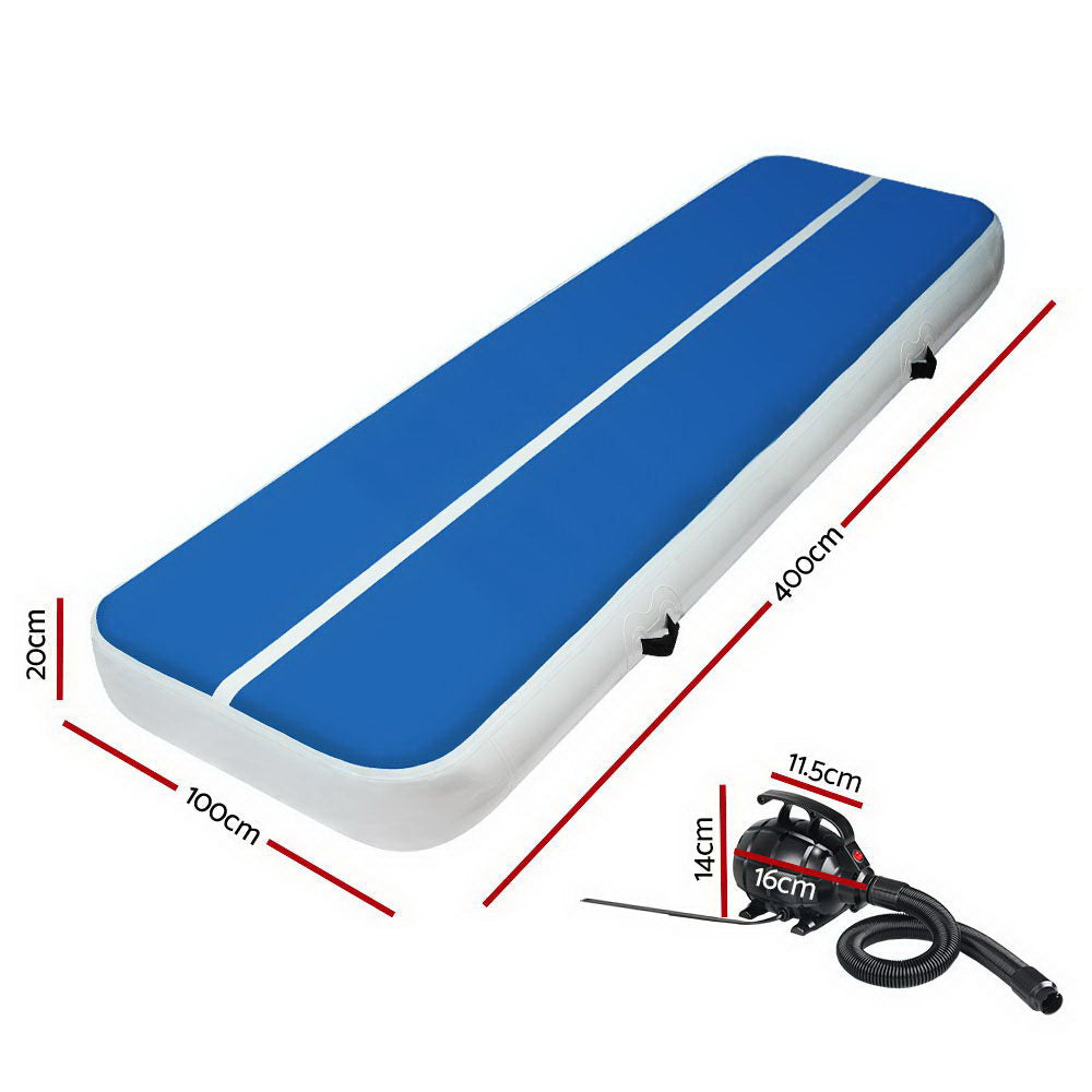 4X1M Inflatable Air Track Mat 20CM Thick with Pump Gymnastics Blue